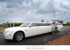 Pearl White Chrysler Limousine with Middle Entry Bridal Door - 10 Passengers (Rear) - Bellagio Limousines Perth