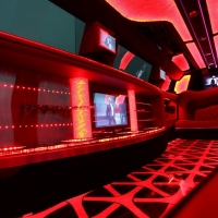 Enormous Bar Storage Facilities for your Bubbly, Bottled Water, Champagne Flutes. Bellagio Limo Hire Perth