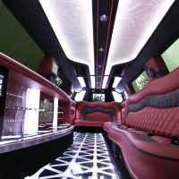 Luxurious Limousine Interior - Suede Roof, with Colour Changing Ceiling. Bellagio Limousines Perth